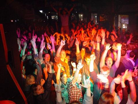 The crowd is having fun!